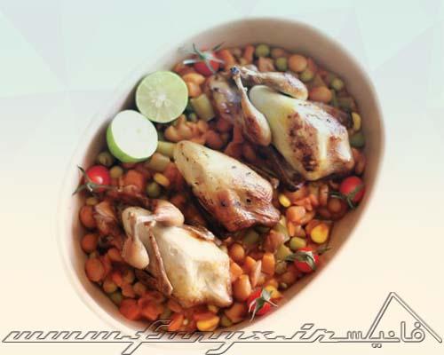 طرز تهیه خوراک بلدرچین با سبزیجات تابستانی